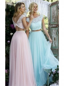Elegant Scoop Cap Sleeve Two Piece Lace Pink Prom Dress,Long Homecoming Dress,Evening Formal Dress