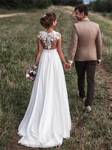 Cute Cap Sleeves Long Chiffon Split Beach Wedding Dresses 2018 With Lace Appliques