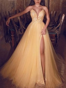 Ball Gown V Neck Strapless Yellow Tulle Long Prom Dresses with High Slit,Formal Evening Party Dresses