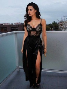 Sexy A-Line V Neck Spaghetti Straps Open Back Black Lace Long Prom Dresses with Slit,Evening Party Dresses