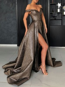 Charming Ball Gown Off the Shoulder Open Back Brown Satin Long Prom Dresses with Side Slit,Quinceanera Dresses