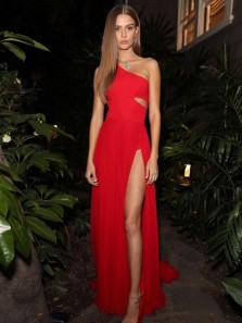 Chic A-Line One Shoulder Red Elastic Satin Long Prom Dresses with High Split,Evening Party Dresses Under 100