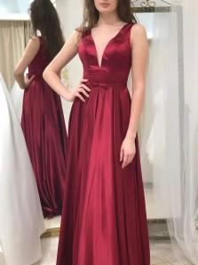 Elegant A-Line V Neck Dark Red Satin Long Prom Evening Dresses,Formal Party Dresses