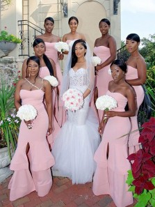 Gorgeous Mermaid Sweetheart Strapless Pink Elastic Satin Long Bridesmaid Dresses with Split Front