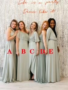 Simple A-Line Multiple Styles Chiffon Boho Wedding Party Dresses,Sage Bridesmaid Dresses Under 100