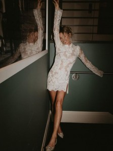 Unique Bodycon High Neck Long Sleeve White Lace Evening Party Dresses with Side Slit