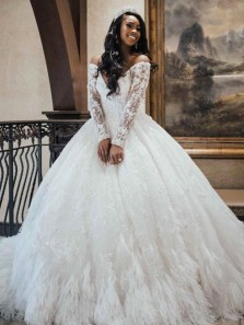 Stunning Ball Gown Long Sleeves Off the Shoulder White Wedding Dresses