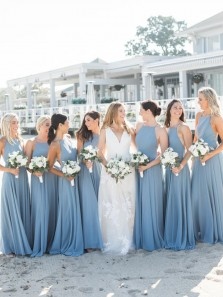 Elegant A-Line Halter Backless Blue Chiffon Long Bridesmaid Dresses Under 100