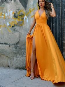Stylish A-Line Halter Open Back Orange Satin Long Prom Evening Dresses with High Slit,Formal Party Dresses