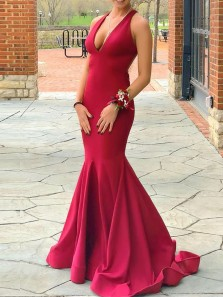Sexy Mermaid V Neck Open Back Red Elastic Satin Long Prom Dresses,Formal Party Dresses