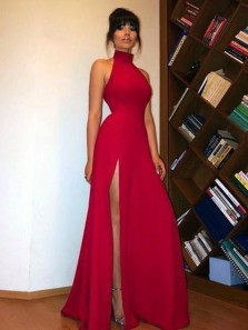 Simple A-Line Halter Open Back Red Satin Long Prom Dresses with High Slit,Evening Party Dresses