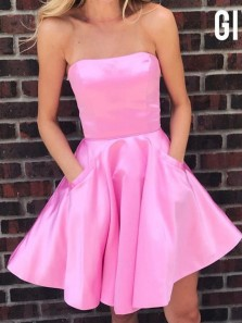 Cute A-Line Strapless Pink Satin Short Homecoming Dresses with Pockets