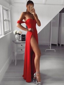 Sexy A-Line Sweetheart Off the Shoulder Slits Red Evening Party Dresses