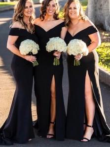 Elegant Sheath Off the Shoulder White Black Long Bridesmaid Dresses with High Split
