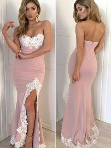 Modest Mermaid Sweetheart Open Back Blush Satin Long Prom Dresses with Appliques,Formal Prom Dresses