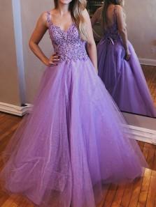 Elegant A-Line V Neck Open Back  Lavender Tulle Long Prom Dresses with Appliques,Formal Evening Party Dresses