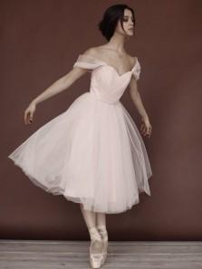 Elegant A-Line Off the Shoulder Pearl Pink Tulle Tea Length Prom Dresses,Cut Dance Dresses