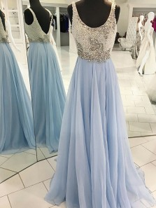A-Line Scoop Sweep Train Light Blue Chiffon Backless Prom Dress with Beading