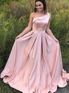 A-Line One-Shoulder Sweep Train Pink Satin Sleeveless Ruffles Prom Dress