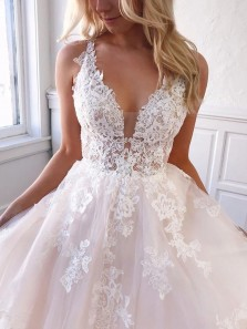 Exquisite A-Line V Neck Open Back White Tulle Lace Wedding Dresses with Train