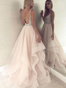 Gorgeous Ball Gown Sweetheart Backless Champagne Organza Long Prom Dresses with Beading,Quinceanera Dresses