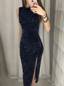 Charming Round Neck Navy Blue Sequins Bodycon Party Dresses,Short Prom Dresses
