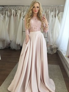 Charming A-Line Two Piece 3/4 Sleeve Pink Satin Long Prom Dresses with Pockets,Evening Party Dresses