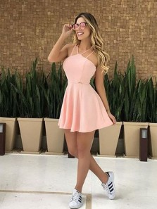 Cute A-Line Halter Open Back Pink Satin Short Prom Dresses,Cocktail Party Dresses,Homecoming Dresses