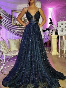 Gorgeous A-Line V Neck Open Back Navy Sequins Long Prom Dresses,Sparkly Pageant Dresses