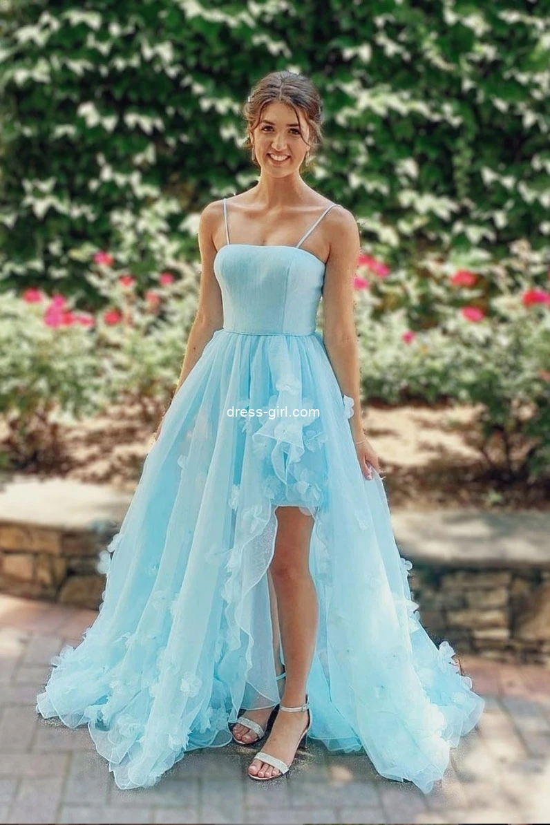 Princess A-Line Spaghetti Straps Blue Tulle Long Prom Dresses Formal Evening Dresses