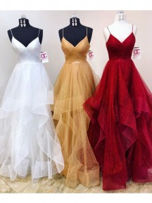 Tulle V Neck Spaghetti Straps Floor Length Ruffled Wedding Gown,Long Homecoming Dress with Beading