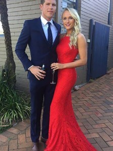Stunning Mermaid Halter Open Back Red Lace Long Prom Dresses,Formal Evening Dresses