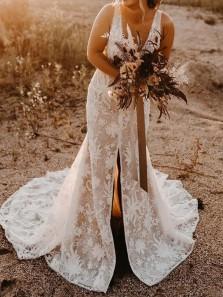 Romantic Mermaid V Neck Open Back Lace Wedding Dresses with Front Split