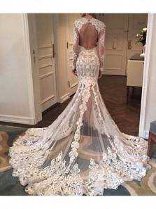 2018 Latest Gorgeous Long Sleeves Open Back Mermaid Long Lace Wedding Dress