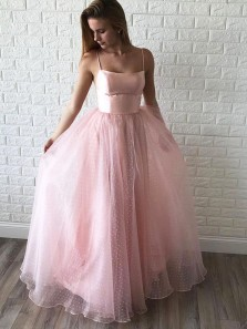 Princess A-Line Scoop Neck Open Back Pink Tulle Long Prom Dresses,Evening Party Dresses