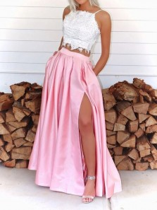 Charming A-Line Two Piece Spaghetti Straps Pink Satin Long Prom Evening Dresses with Pockets
