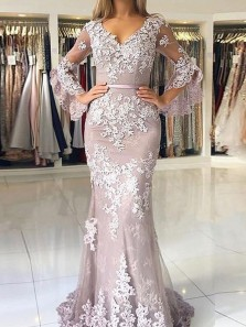 Elegant Mermaid V Neck Flared Sleeves Tulle Long Prom Evening Dresses with Lace Appliques