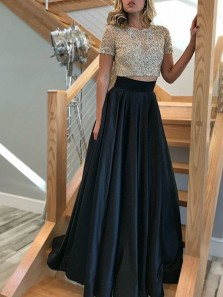 Stunning Two Piece Round Neck Short Sleeve Black Satin Long Prom Dresses with Beading,Formal Party Dresses