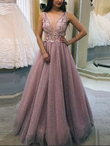 Sparkly A-Line V Neck Open Back Blush Sequins Long Prom Dresses with Appliques,Quinceanera Dresses