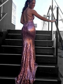 Mermaid Deep V-Neck Criss-Cross Straps Sweep Train Pink Sequines Prom Dress