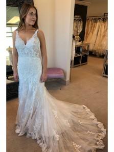 2018 Latest Elegant Mermaid White Lace Long Wedding Dress with Open Back