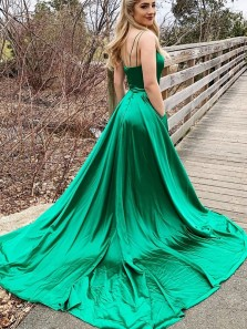Lovely A-Line V Neck Open Back Green Satin Long Prom Evening Dresses with Pockets