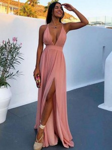 Sexy A-Line Deep V Neck Cross Back Pink Chiffon Long Prom Dresses with Slit,Evening Party Dresses Under 100