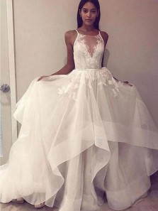 Charming Ball Gown Round Neck Open Back Ivory Tulle Wedding Dresses,Lace Bridal Dresses 20201037