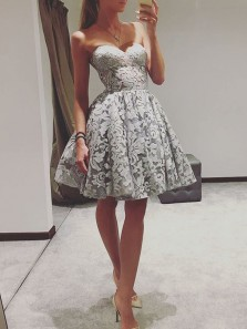 A-Line Sweetheart Grey Lace Short Homecoming Dresses,Cocktail Party Dresses