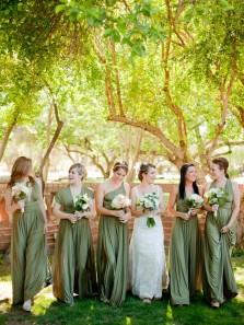 Simple A-Line Convertible Sage Green Long Bridesmaid Dresses.Boho Wedding Party Dresses