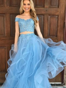 Two Piece Off-the-Shoulder Floor-Length Blue Tulle Prom Dress with Appliques