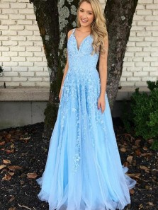Charming A-Line V Neck Spaghetti Straps Open Back Blue Long Prom Dresses with Appliques,Evening Party Dresses