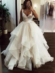 Gorgeous A-Line V Neck Open Back White Tulle Wedding Dresses