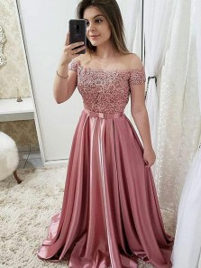 Charming A-Line Off the Shoulder Open Back Blush Satin Long Prom Dresses with Appliques,Evening Party Dresses